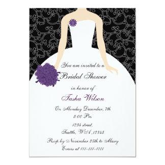 invitación nupcial púrpura de la ducha invitación 12,7 x 17,8 cm