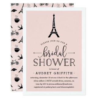 Invitación nupcial romántica de la ducha de París