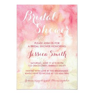 Tarjeta Invitación nupcial rosada floral de la ducha de la
