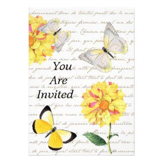 Invitación o invitación amarilla de la dalia de la