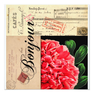 Invitación o tarjeta francesa de Bonjour del Peony