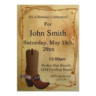 Invitación occidental de la bota de vaquero invitación 12,7 x 17,8 cm