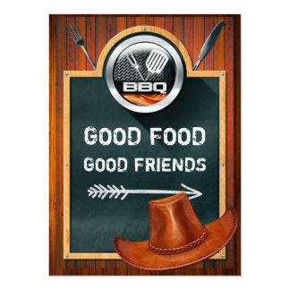 Invitación occidental del Bbq del gorra de vaquero