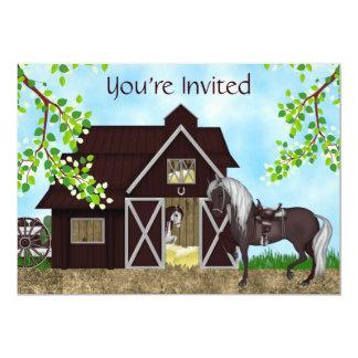 Invitación occidental del cumpleaños del granero invitación 12,7 x 17,8 cm