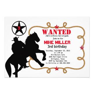 Invitación occidental querida linda del vaquero