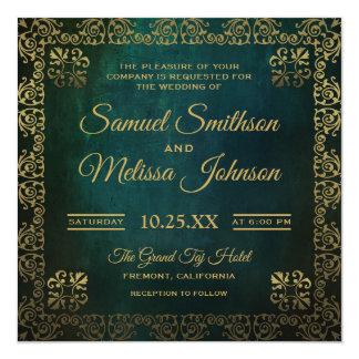 Invitación oriental del boda del oro verde del