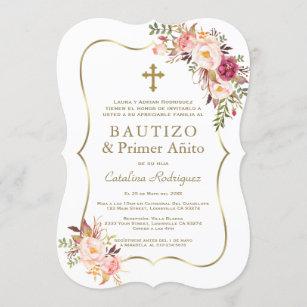 Invitación Oro Floral Rosa Chica Español Primer bautismo de