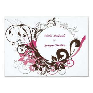 Invitación oval floral del compromiso
