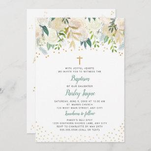 Invitación para bautismo con detalles florales