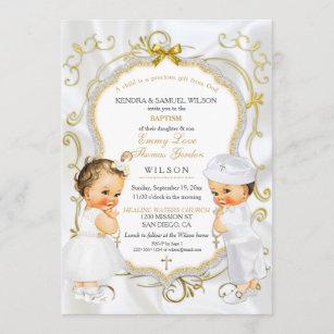 Invitación para bautizo con dos niños gemelos. D