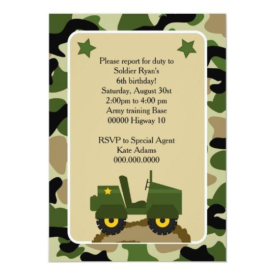 Invitacion para fiesta militar Soldado camuflage