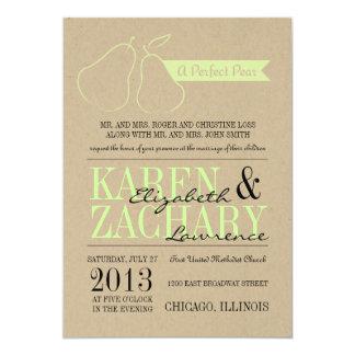 Invitación perfecta del boda de la pera invitación 12,7 x 17,8 cm
