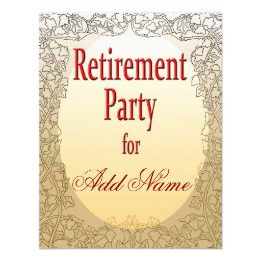Invitación personalizada del fiesta de retiro