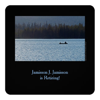 Invitación, pescador e hijo del retiro en el lago invitación 13,3 cm x 13,3cm