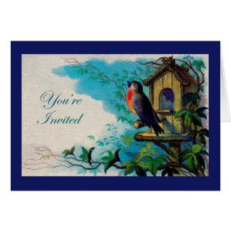 Invitación, petirrojo y Birdhouse caseros Tarjeta De Felicitación