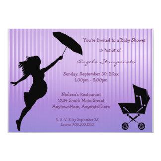 Invitación Pin-Rayada púrpura de la fiesta de Invitación 12,7 X 17,8 Cm
