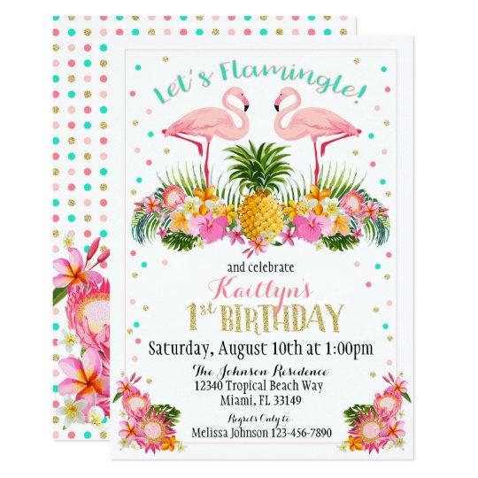 Invitación Piña Del Flamenco Y Cumpleaños Floral Tropical