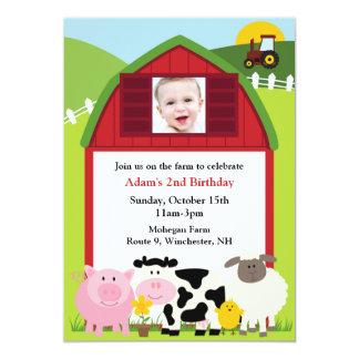 Invitación plana de la granja de la foto del