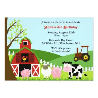 Invitación plana de los animales del campo del