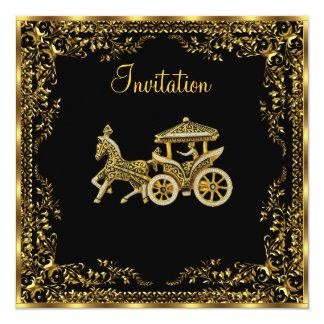Invitación popular elegante del carro del oro
