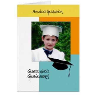 Invitación preescolar de la graduación de la foto tarjeta de felicitación