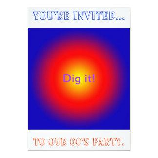 Invitación psicodélica del fiesta de los años 60