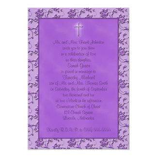 Invitación púrpura cristiana del boda del poder