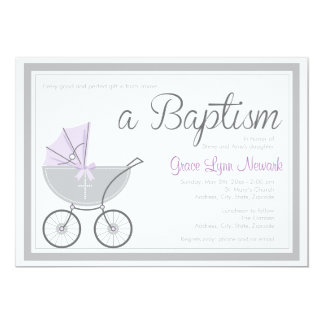 Invitación púrpura cruzada del bautismo del chica invitación 12,7 x 17,8 cm