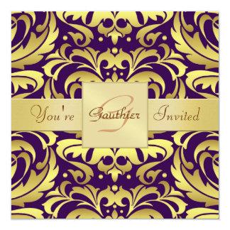 Invitación púrpura de la cinta de la hoja de oro