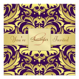 Invitación púrpura de la cinta de la hoja de oro d