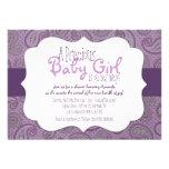 Invitación púrpura de la ducha de la niña de Paisl