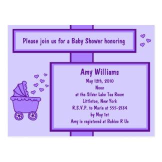 Invitación púrpura de la ducha del carro y de los postal