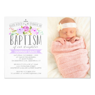 Invitación púrpura de la foto del bautismo de la