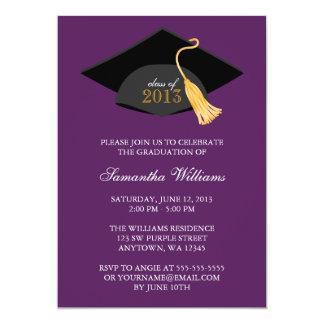 Invitación púrpura de la graduación del casquillo invitación 12,7 x 17,8 cm