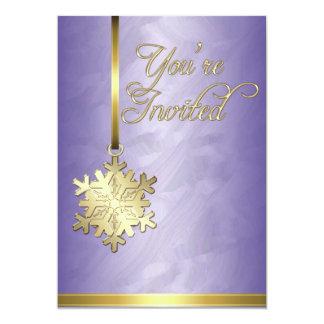 Invitación púrpura de la hoja de la decoración del