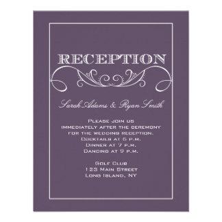 Invitación púrpura de la recepción del remolino el