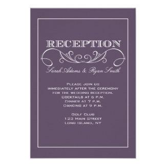 Invitación púrpura de la recepción del remolino mo