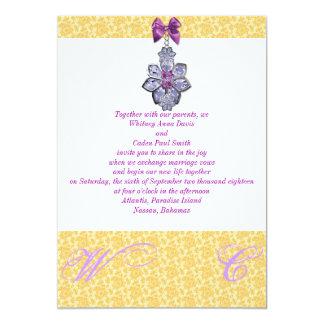 Invitación púrpura de oro del boda de la joya del
