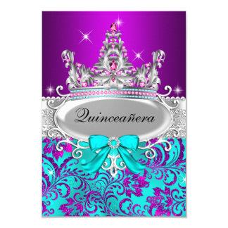Invitación púrpura de Quinceanera de la tiara del