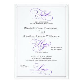 Invitación púrpura del boda de la escritura del