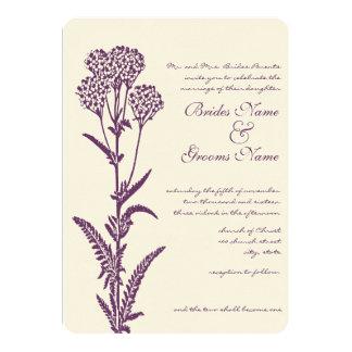 Invitación púrpura del boda de la rama de la flor