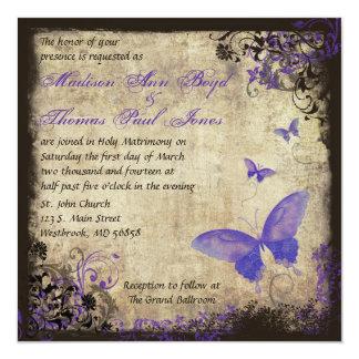 Invitación púrpura del boda del cuadrado del