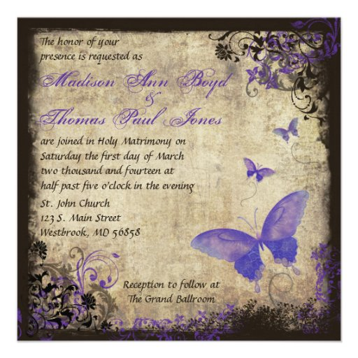 Invitación púrpura del boda del cuadrado del vinta