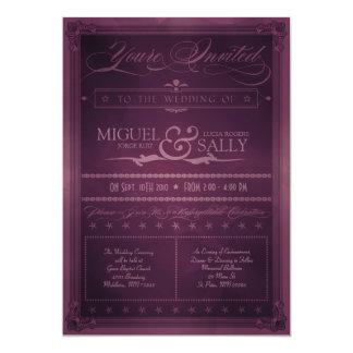 Invitación púrpura del boda del estilo DIY del