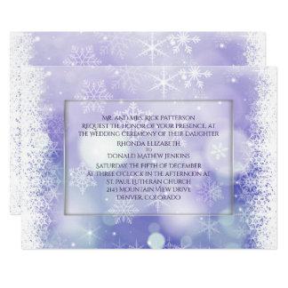 Invitación púrpura del boda del invierno de los