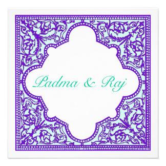 Invitación púrpura del boda del marco del vintage