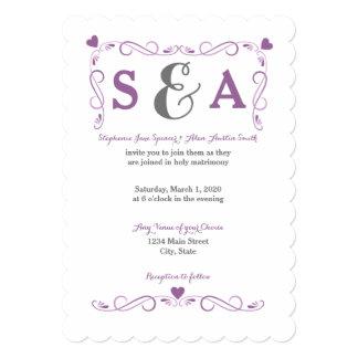 Invitación púrpura del boda del marco elegante del invitación 12,7 x 17,8 cm