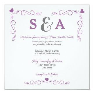 Invitación púrpura del boda del marco elegante del invitación 13,3 cm x 13,3cm