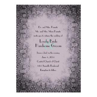 Invitación púrpura del boda del negro del vintage