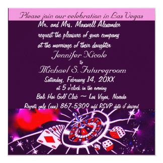 Invitación púrpura del boda del tema de Vegas de